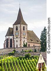 Hunawihr (Alsace) - Church and vineyard
