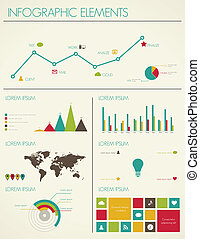 Retro infographics design World Map and Information Graphics...