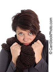 Unhappy woman suffering from cold weather - Unhappy woman...