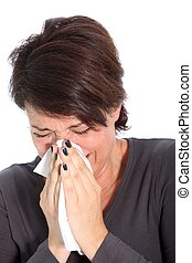 Woman suffering from a cold or flu