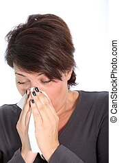 Woman suffering from cold and flu