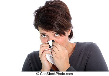 Unhappy woman with a cold