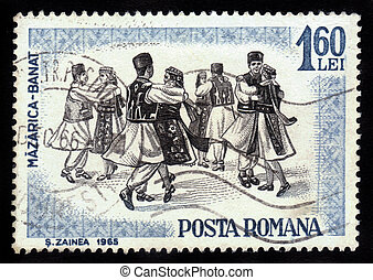 dancers of Romania, Banat region - ROMANIA - CIRCA 1965: A...