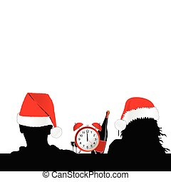 couple and red hat for christmas with clock and wine