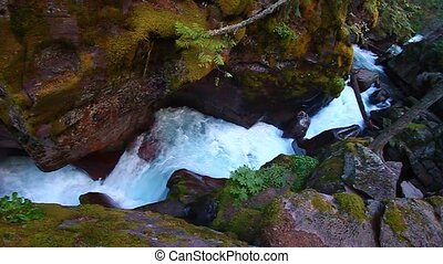 Avalanche Creek Waterfall Montana - Waterfall through a...