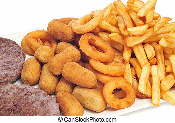 tray with fattening food, such as burgers, croquettes, calamares and french fries