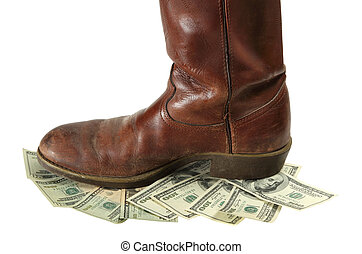 Money Devalued is Trod Under Foot - A boot stomps on money...
