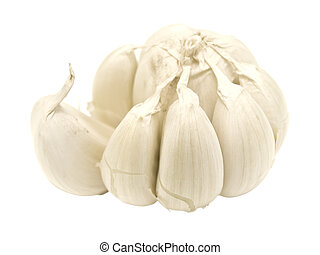 Single isolated garlic against the white background