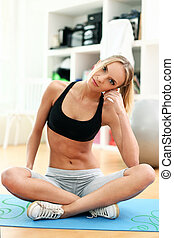 Attractive woman do yoga exercise at home