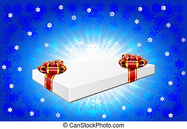 Gift box is on winter background.