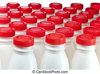 garrafas, números, leite