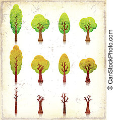 Grunge Trees Icons Set - Illustration of a set of vintage...