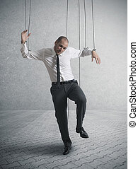 Controlled businessman - Concept of controlled businessman