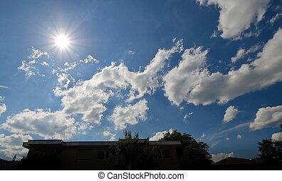 Cloudy blue sky with sun