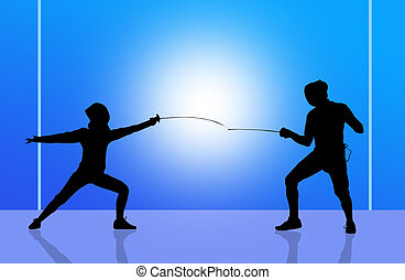 fencing - fencer in the gym