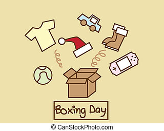 Boxing Day - Illustration of many stuff out of the box