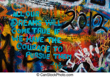 Lennon wall in Prague - Detail from a famous Lennon wall in...