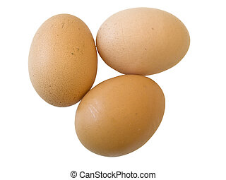 Three isolated eggs against the white background