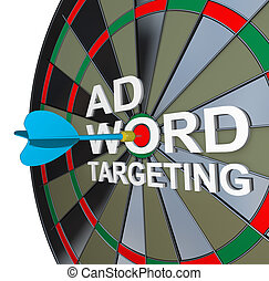 Ad Targeting Word on Dartboard Dart Words - The words Ad...