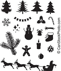 Christmas silhouettes - Silhouette set of Christmas icons