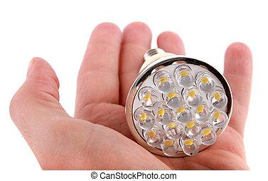 zwiebel, leuchtdiode,  Hand