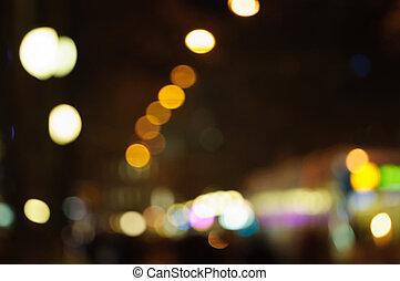 Out of focus lights in a main street