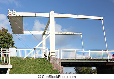Bascule bridge in East Frisia - The bascule bridge at the...