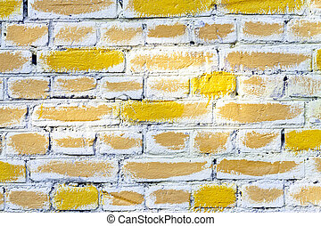 Yellow brick wall - Yellow painted brick wall