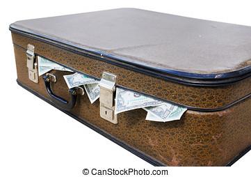 dinero, Lleno, viejo, maleta