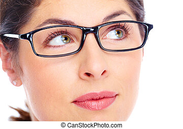 Beautiful young woman wearing glasses portrait.
