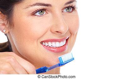 feliz, mujer, cepillo de dientes, dental, cuidado