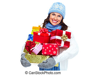 Beautiful christmas girl with gifts. - Beautiful christmas...