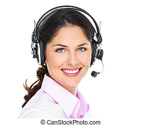 Call center operator woman. Isolated on white background.