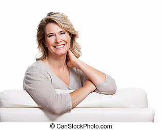 Happy senior woman Isolated on white background