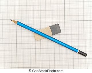 Blue pencil and eraser