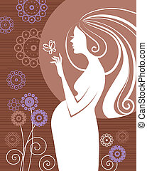 Pregnant woman in flowers
