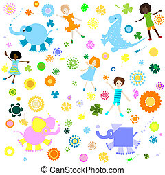 background for kids - kids background; seamless pattern with...