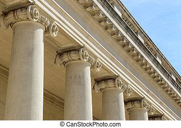pedra, apoio, pilares, azul, céu, fundo