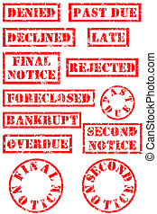 Grungy rubber stamps for bad economy