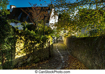 Back Alley in Culross Scotland - Shot of a Back Alley in...