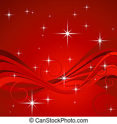 Christmas design with foliage and many stars