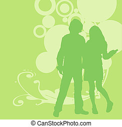 urban scene - illustration of an urban scene with couple...