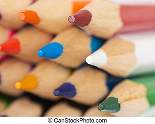 Colored pencils closeup - Macro background of the pencil as...