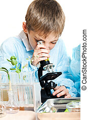 Young scientist - Little boy doing biochemistry research at...
