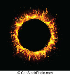 Fire Circle - illustration of fire flame in circular frame