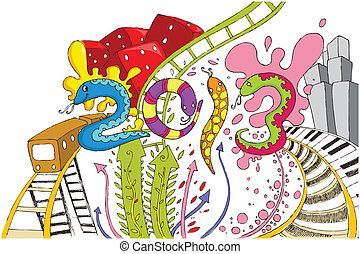 Happy New Year 2013 - illustration of Happy New Year 2013...