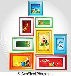 Colorful Christmas Photoframe - illustration of colorful...