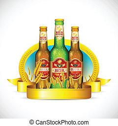 Beer Bottle with Barley - illustration of beer bottle with...