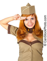 beautiful woman in military uniform - Young beautiful woman...