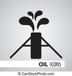 Oil Icons - Icon Oilfield, black and white vector...